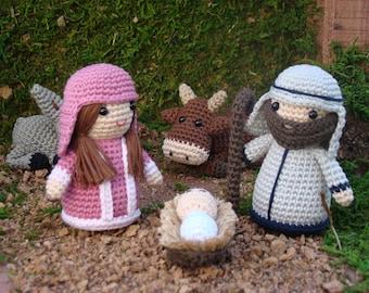 Amigurumi handmade nativity scene, Manger Scene - Baby Jesus, Mary and Joseph