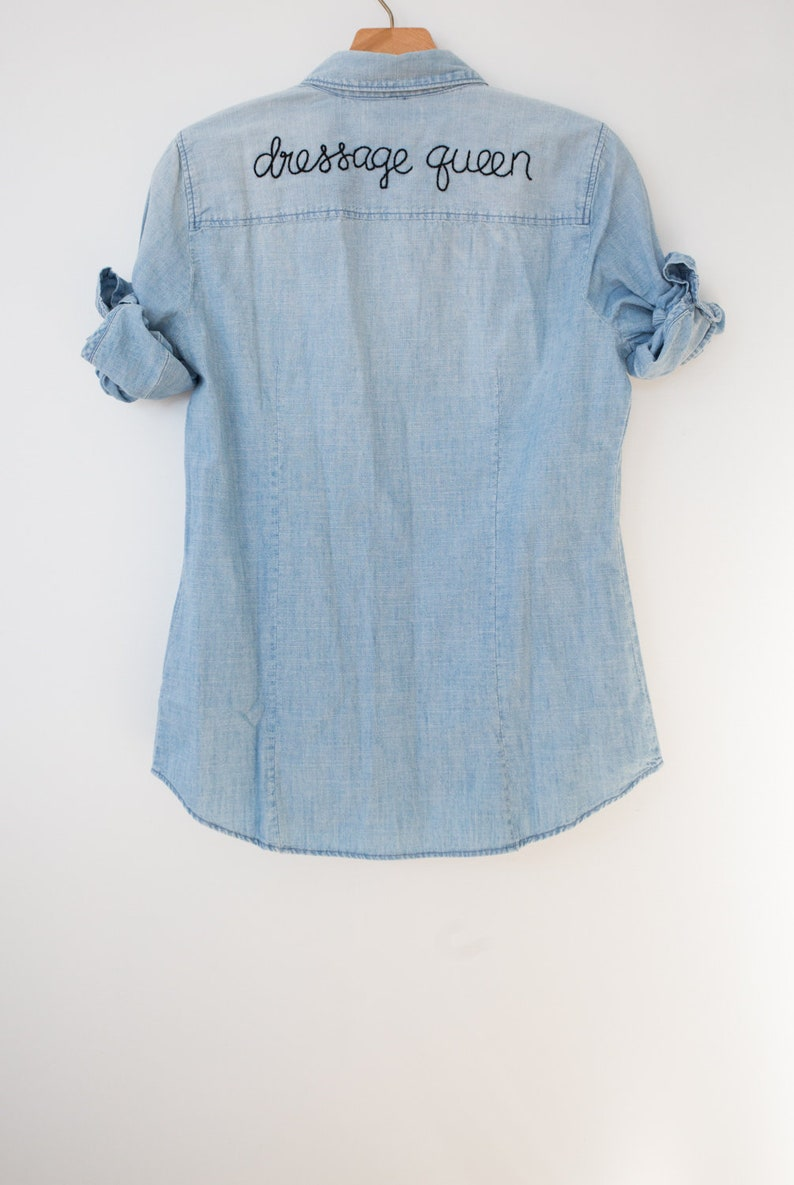 aed096ac95e Hand Embroidered Chambray Denim Shirt  dressage