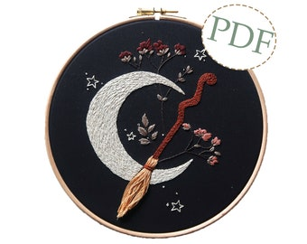 Halloween Moon and Broom Hand Embroidery PDF Downloadable Pattern Tutorial / Instant Download / Autumn Fall Witch Embroidery Hoop Art