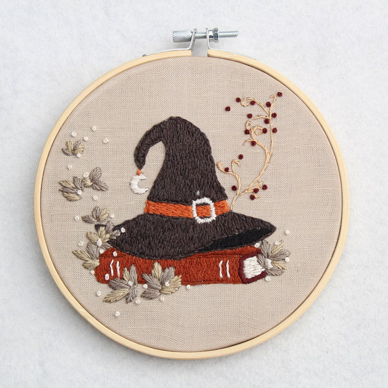 Autumn Witch Hat Embroidery PDF Pattern Embroidery Hoop Art Hand Embroidery Downloadable Tutorial DIY Design