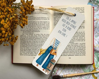 """Bookmark """"Voyage"""" - made in watercolor, illustration with quote, bookmark for lovers of books and travel"""