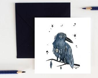 """Magic crow"" greeting card, original watercolour illustration, illustrated greeting card, envelope card, halloween card"
