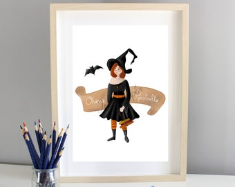 Your witch portrait - custom illustrated portrait, Portrait for Halloween, digital avatar or printed on paper