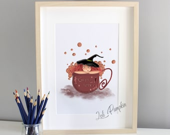 """Poster """"witch drink"""" - fine art print, choice format, autumn witch, autumn illustration, cozy witch"""