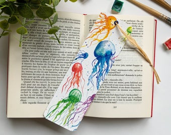 """""""Meduses"""" page brand - made in watercolor, illustrated page mark, for book lovers, print on quality thick paper"""