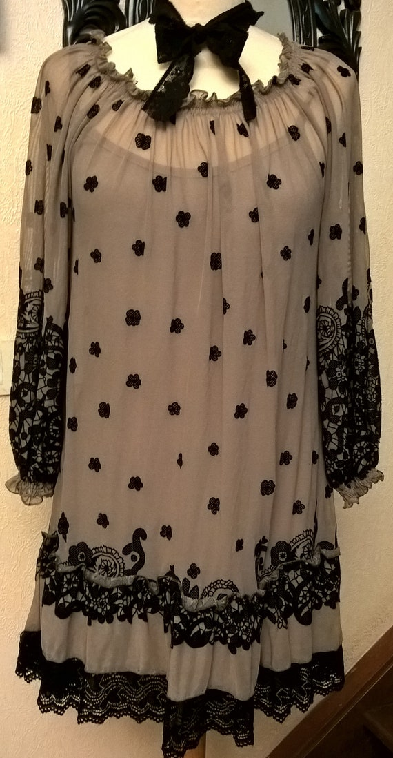 Made embroidered beige mesh black France in clothing Dress Lace and women Black gift qv4gWRan