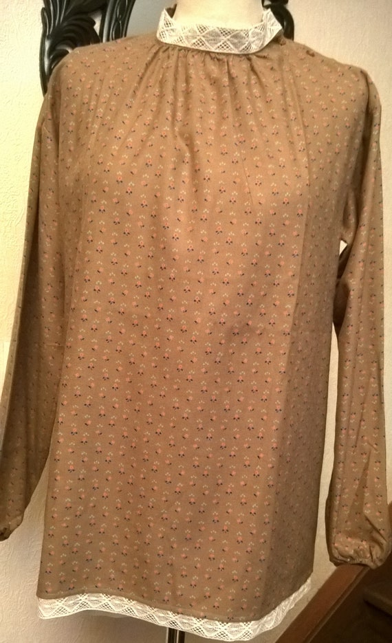 and Made France women in collar and in lace sleeves long gift Blouse clothing viscose high cotton woman printed wUSn7qvZ