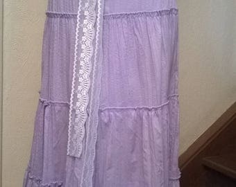 Long cotton skirt and purple lace