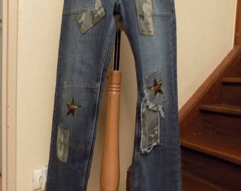 Pair of jeans military pattern