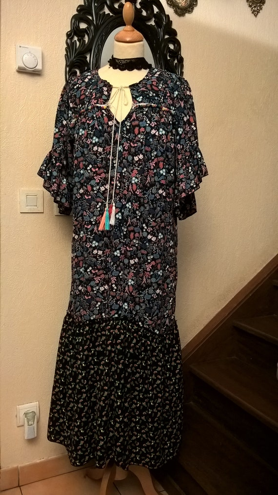 and long viscose Cotton dress printed UdqwBX