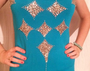 Tank top front with sequins and beads silver hand-sewn