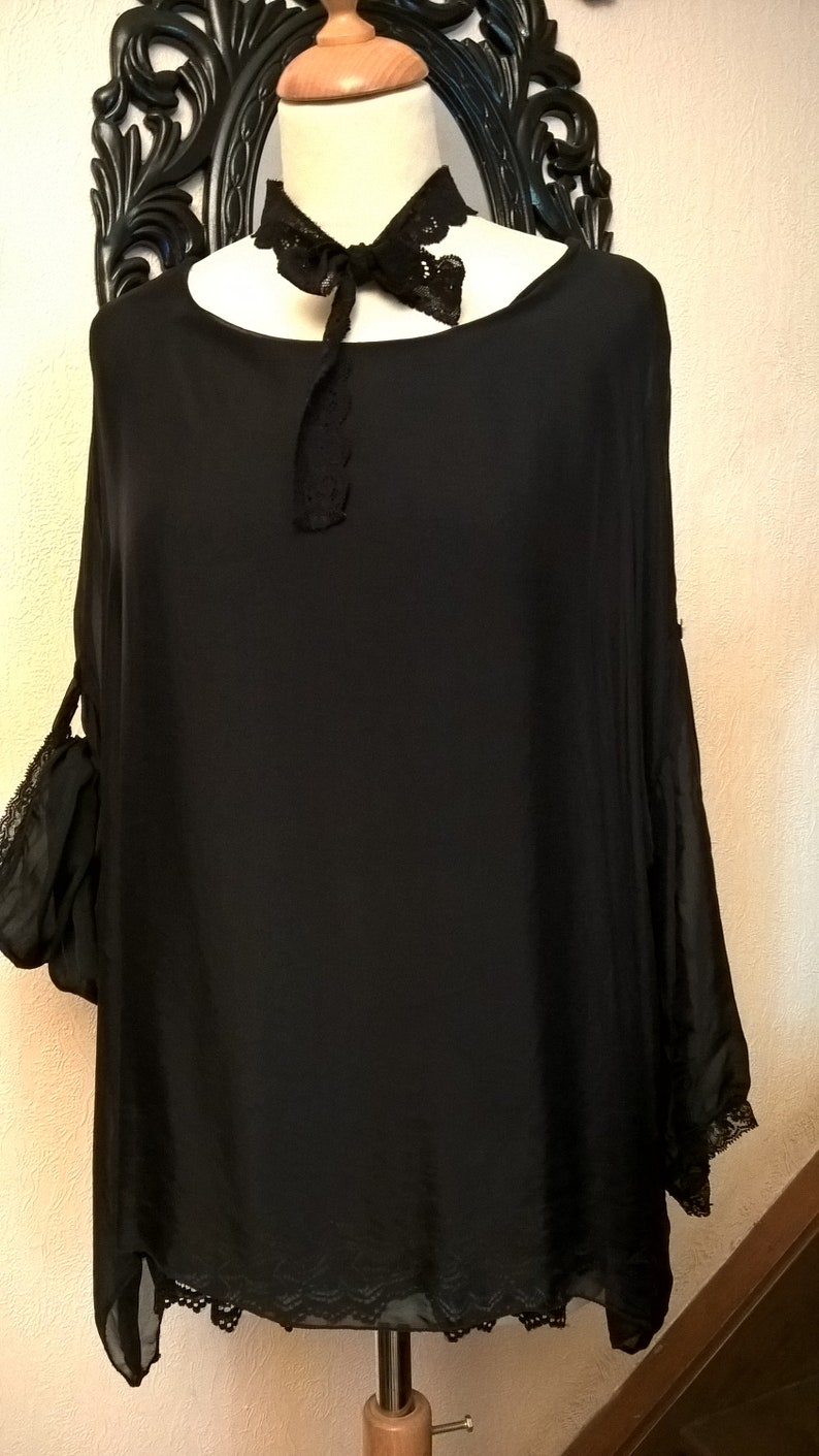 women/'s clothing wide tunic round neck and three-quarter sleeves Black and lace silk tunic Woman gift