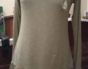 Fine and lace knit long sweater khaki