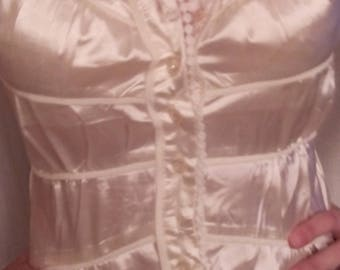 Satin pink short sleeve blouse
