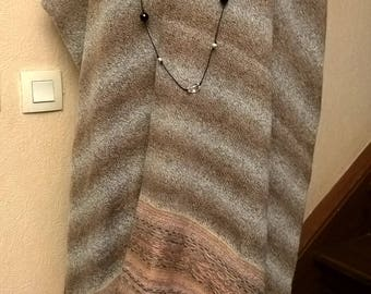 Poncho made of mohair, wool and viscose in beige melange