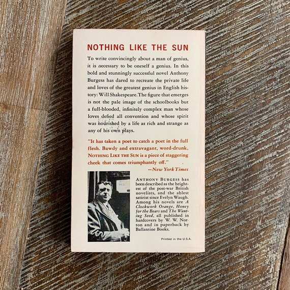 Nothing Like the Sun by Burgess Anthony Paperback Book The Cheap Fast Free Post
