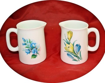 Pair of jugs, miniature jugs, china jugs, home ware, harebells, crocus flower, made in wales, home ware,