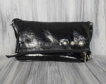 Cross body small black leather bag - Evening Bag -  Wedding Clutch -  Dinner Bag - Evening Accessories - Purse.