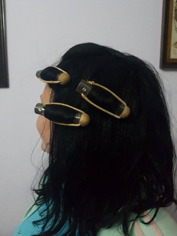 Curlers Metallic Hair Rollers Hair Reels With A Wooden Etsy