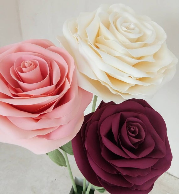 Large Paper Flowers Giant Paper Flowers Paper Flowers On The Stem Paper Rose Large Paper Flowers For Wedding Decoration