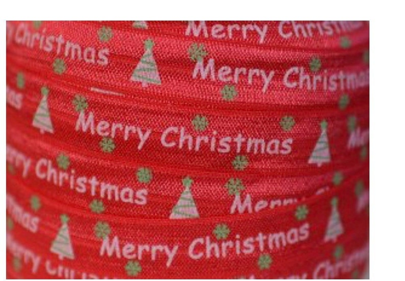 "1 yard red Merry Christmas print 5//8/"" fold over elastic FOE"