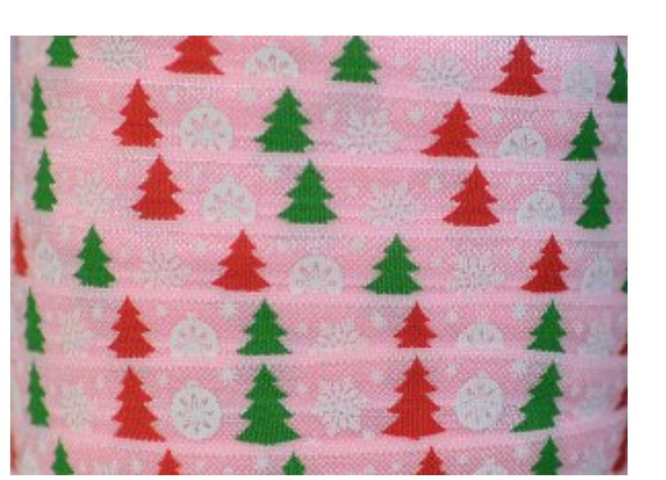 """10 yards White Red Green Christmas Holly stretch foldover elastic FOE 5//8/"""""""