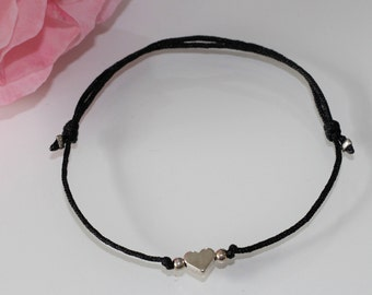 Bracelet Macrame with heart in silver Makrameearmband bracelet bracelet Heart modern filigree Elegant simple