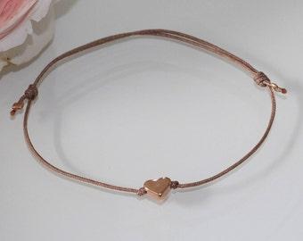 Bracelet Macrame with Heart in rosegold filigree friendship bracelet heart bracelet bracelet Rosengold Jewellery Makrameearmband