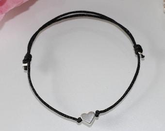 Bracelet Macrame with Heart in silver filigree friendship bracelet heart bracelet Makrameearmband heart Bracelet jewellery Modern