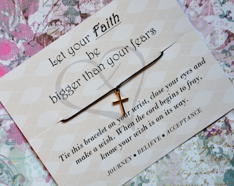 Let Your Faith be Bigger, Wish Upon Your Wrist, Wish Bracelet, Cross Jewelry, Christian Jewelry, Baptism, Birthday Gift