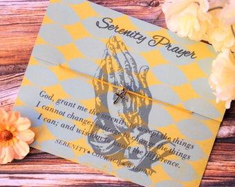 Serenity Prayer, Wish Bracelet, Cross Jewelry, Christian Jewelry, Baptism Gift, Sobriety Gift, Faith Gift, Serenity, Wish Upon Your Wrist