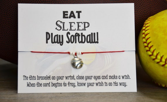 Eat Sleep Play Softball Wish Bracelet Wish Upon Your Wrist Wish Bracelet Softball Team Gift Softball Coach Softball Mom