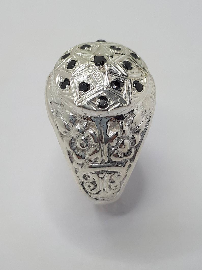 Handmade Ring Black Stone Ring Men Vintage Ring Heavy Silver Ring Silver Engraved Ring Men Silver Ring Rosetta Ring Vintage Ring