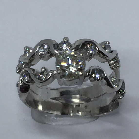 Wedding Ring Women Wedding Bridal Sets 14k White Gold Ring Etsy