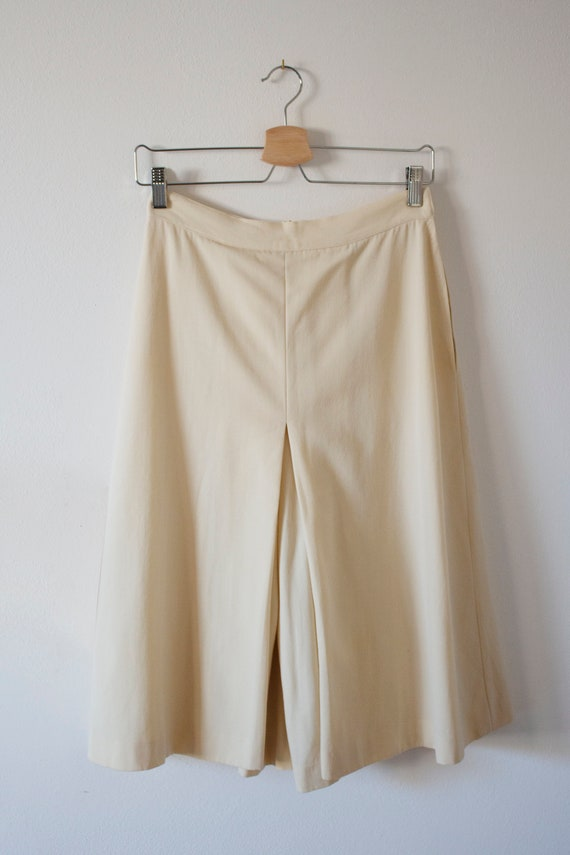 70's wool cream divided riding skirt with pleats g