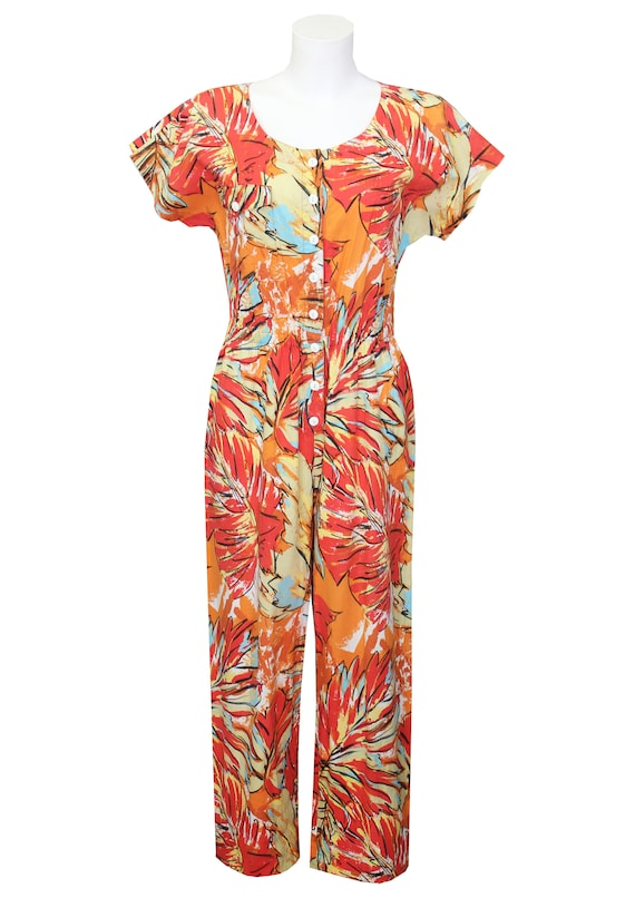 Vintage 1980's printed cotton jumpsuit