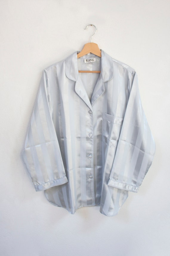 80's silk light blue striped pyjamas two piece shi