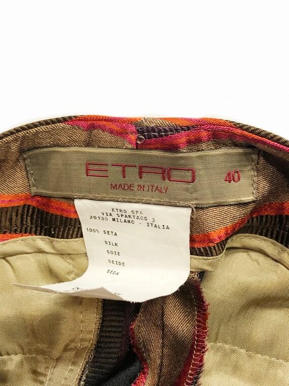 Etro 90's brown silk colored striped low rise tro… - image 5