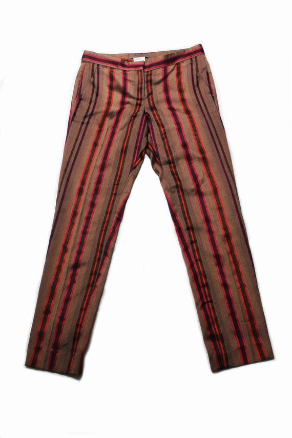 Etro 90's brown silk colored striped low rise tro… - image 2