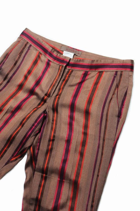Etro 90's brown silk colored striped low rise tro… - image 1