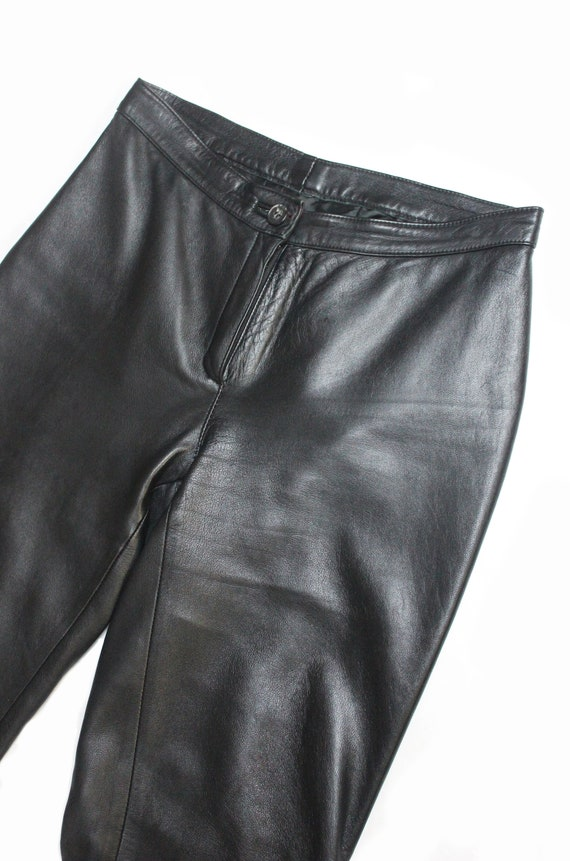 1970's men's black leather flared trousers