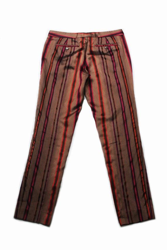 Etro 90's brown silk colored striped low rise tro… - image 4