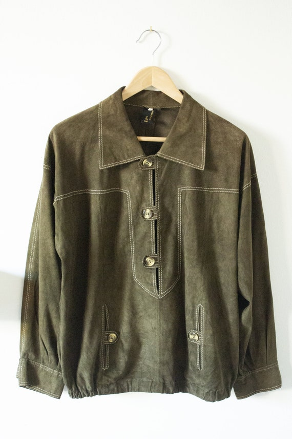70's men's suede leather seaweed green collared bo