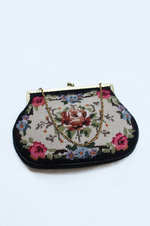 1950's floral needlepoint bag
