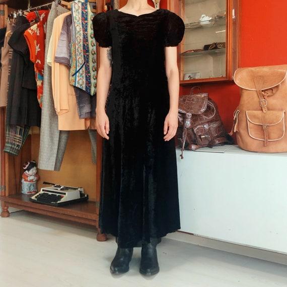 1930's puff sleeves black velvet maxi dress