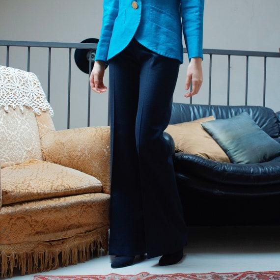 1970's blue wool high rise women's flare leg trous