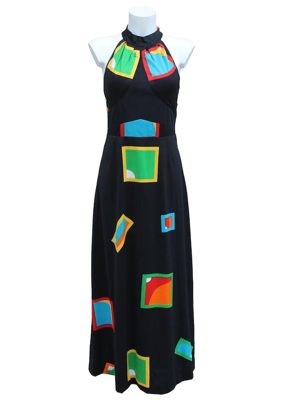 Vintage 1970's geometric printed maxi dress