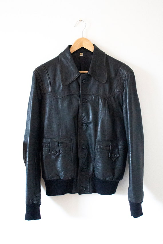 70's men's black leather dagger collar bomber jack