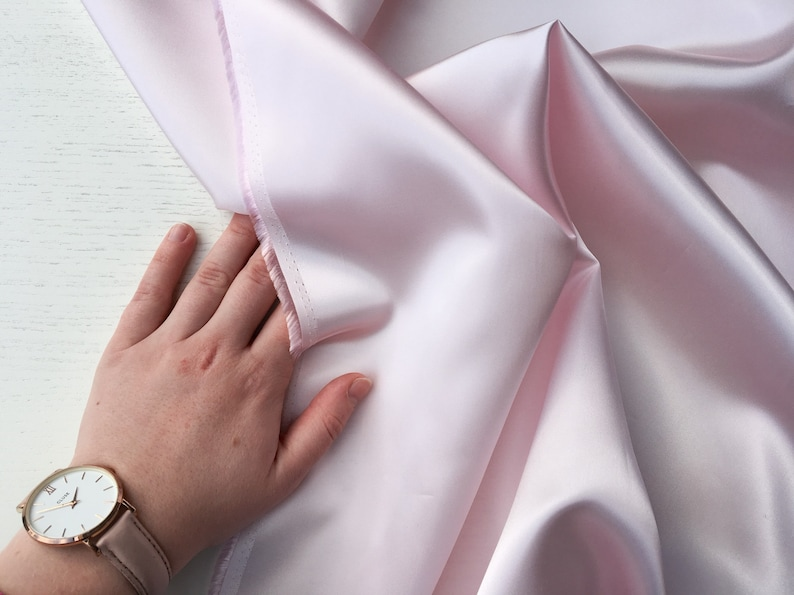 Pink Blush Satin Lining Fabric — Satin Light Pink Lining Fabric — Lux  Quality — Width 112 cm / 44 inch • per half of a metre