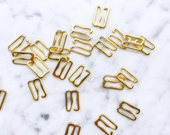 4 pieces – 12mm – of Gold plated bra hooks – for bra and swimwear making